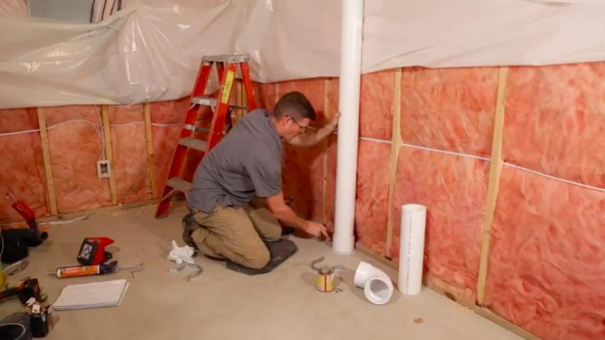 Radon mitigation basement vent pipe