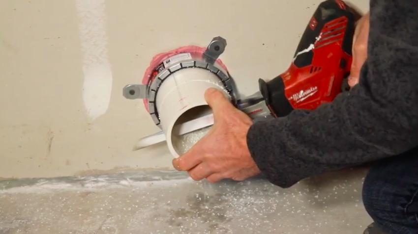 Cutting the radon mitigation vent pipe
