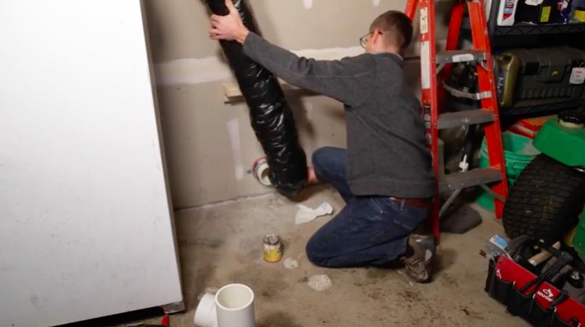 Garage vent pipe installation