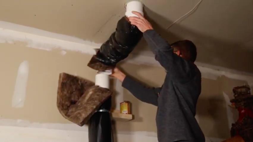 Completing the radon mitigation garage section