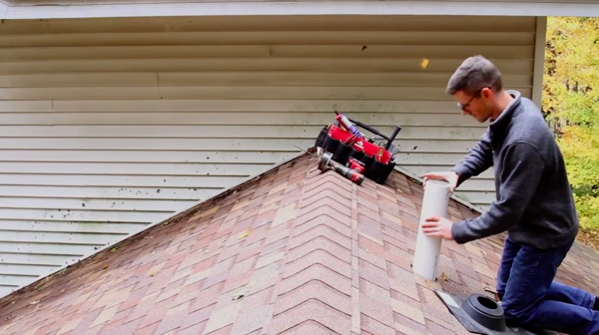 Radon mitigation rooftop installation